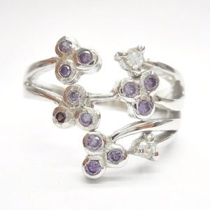 Sterling Silver Purple & Pink Cubic Zirconia Ring